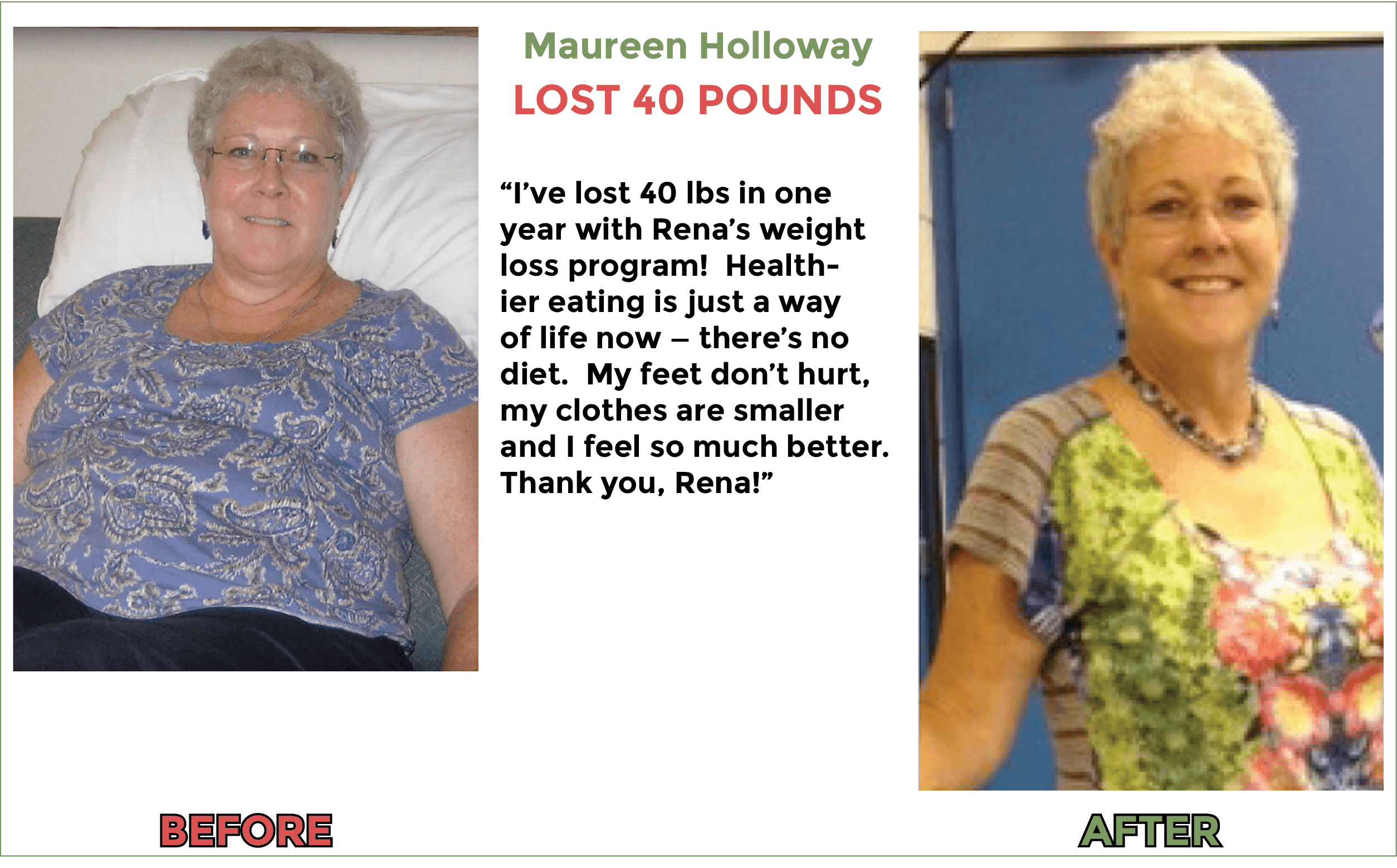 Maureen lost 40 pounds