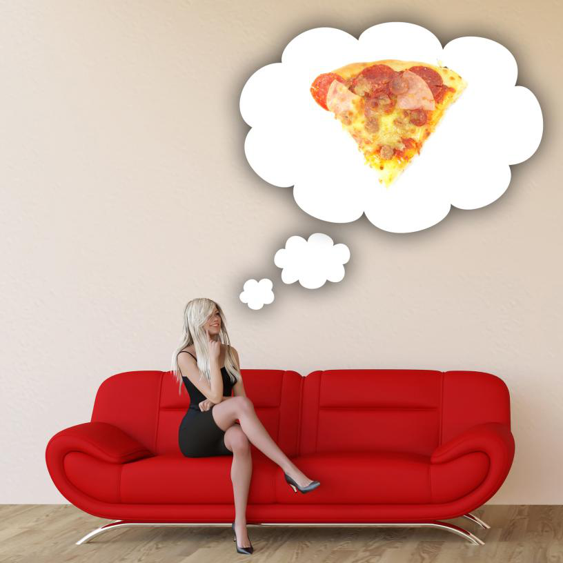 girl craving about pizza