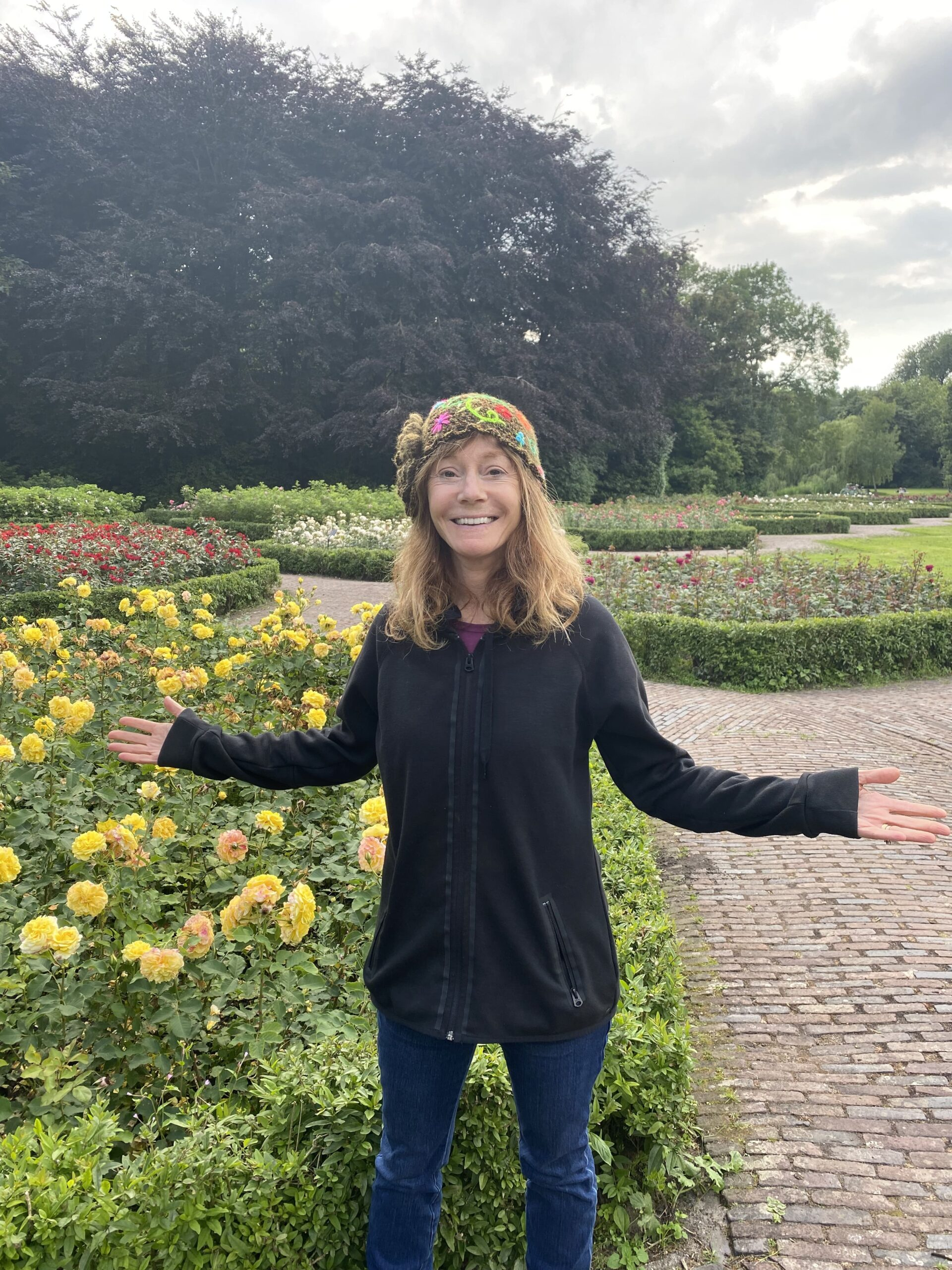 Rena in garden in Amsterdam
