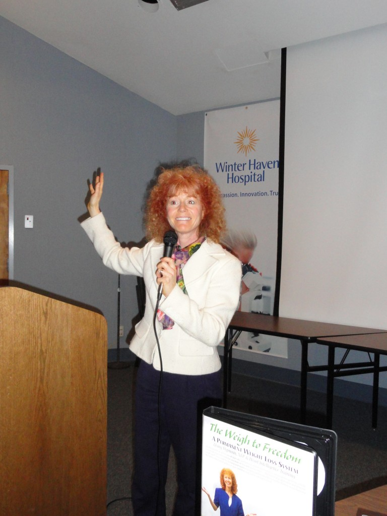 Rena-speaking-at-Winter Haven Hospital