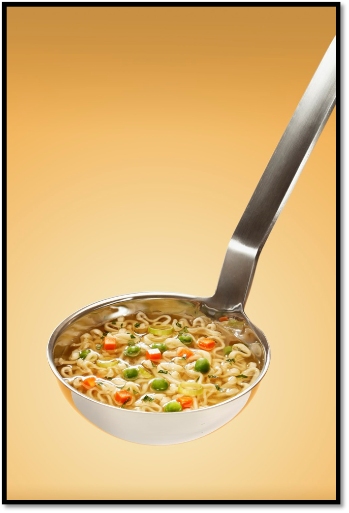 Stainless Steel Ladle with Noodles and Vegetables