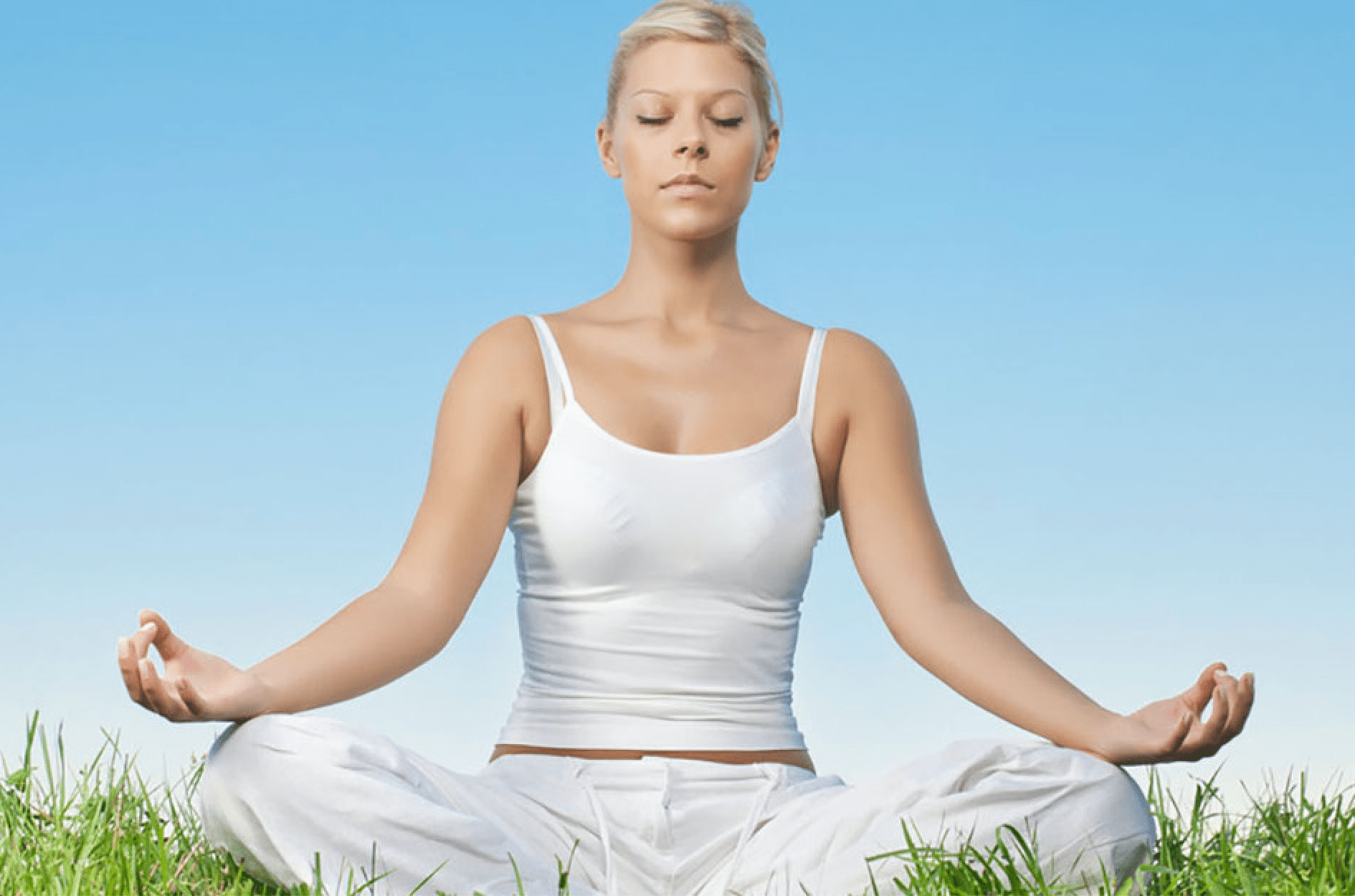 Woman practicing self hypnosis in nature