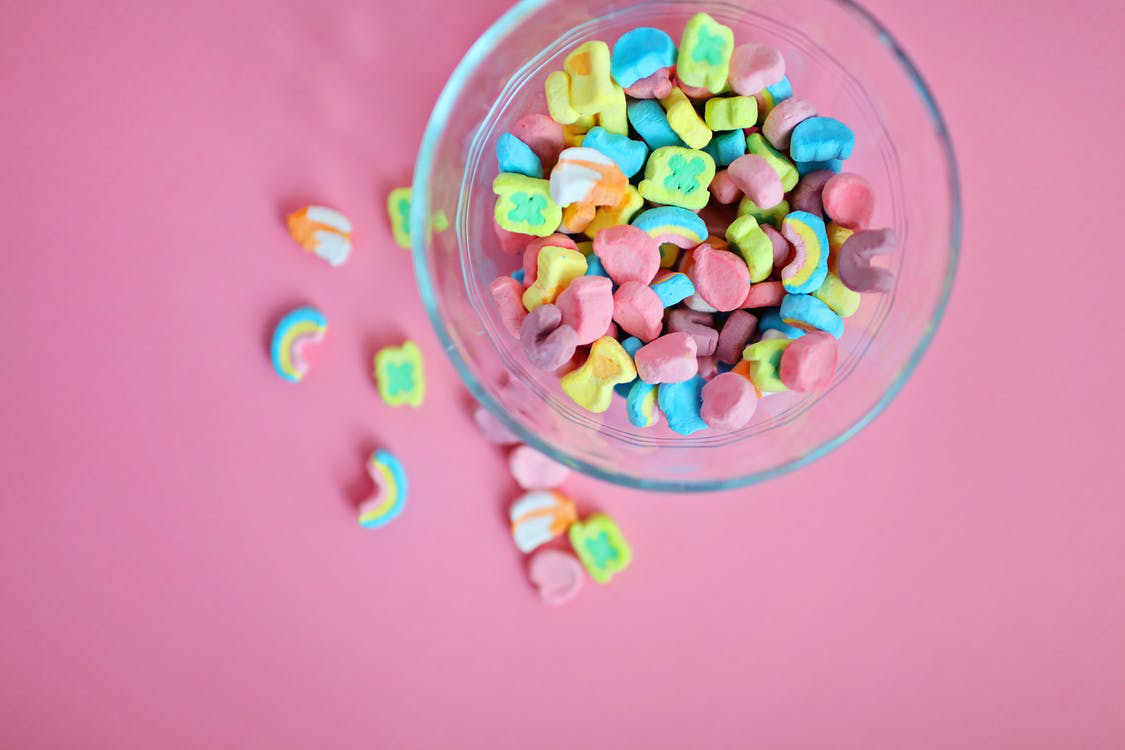 Mini rainbow marshmallows.