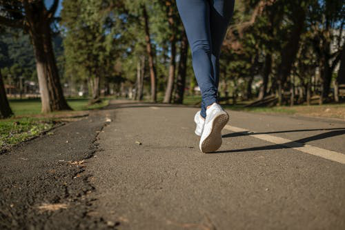 A woman jogging to stay fit.