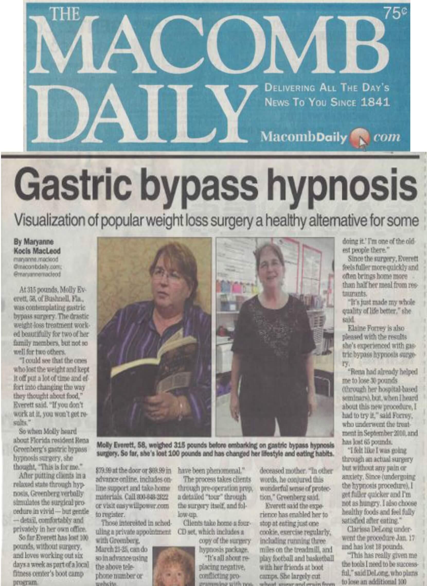 macomb weight loss hypnosis article